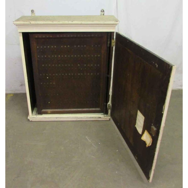 Antique White Wooden Key Hanging Cabinet Box For Sale - Image 6 of 11