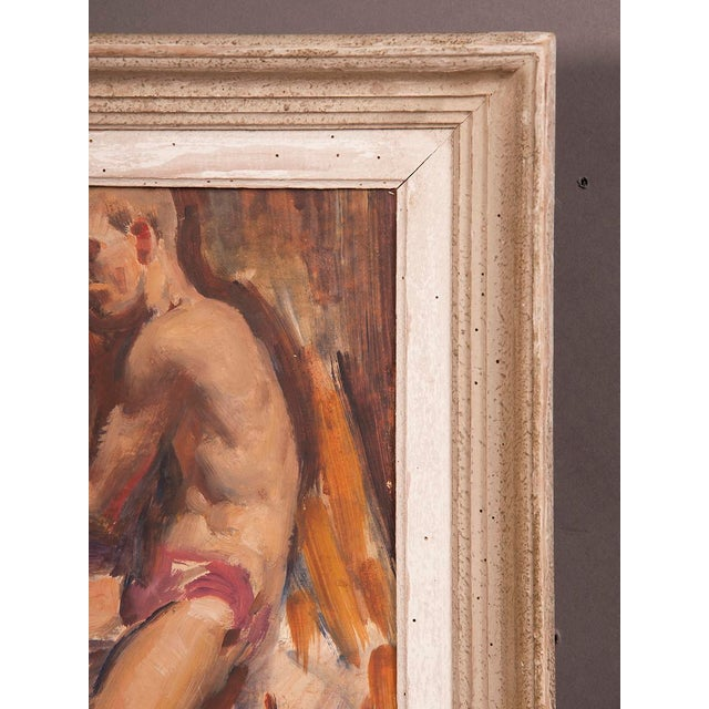 1960s Signed painting by English artist Victor Hume of an Athlete, circa 1960 For Sale - Image 5 of 8