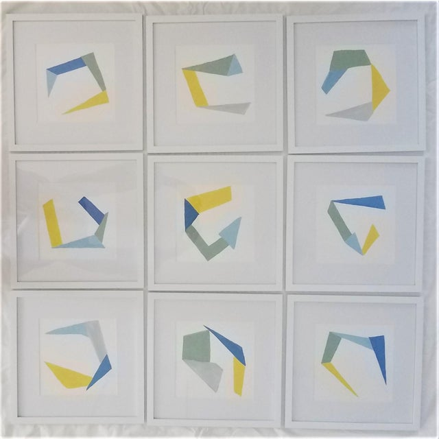 Hand Painted Geometric Abstracts on Watercolor Paper Framed - 12 X12 - Set of 9 For Sale - Image 11 of 11