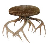 Image of Antique American Suede & Horn Stool For Sale