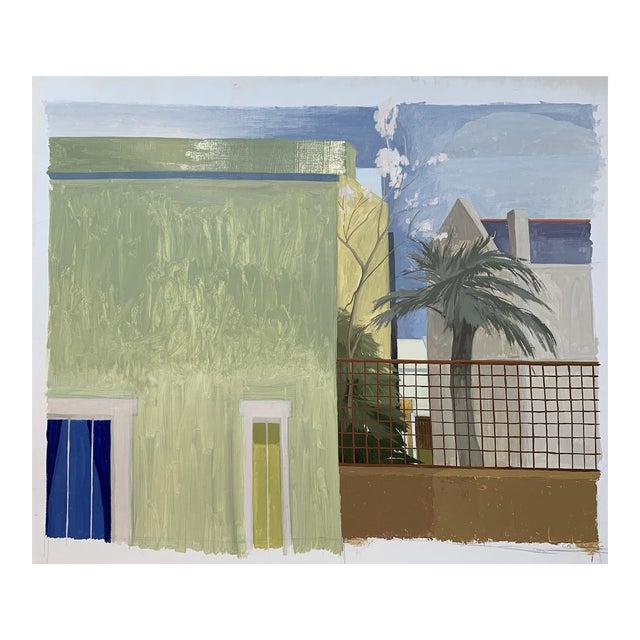"Celia Reisman ""Green St. Albano"" Landscape Architecture Colorful Painting For Sale"