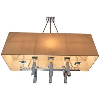 Silver Leaf and Aged Mirror Rectangular Mid-Century Modern Chandelier For Sale