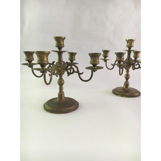 Vintage Solid Brass 5 Light Candelabras - A Pair - Image 3 of 5