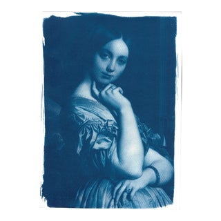 Ingres Portrait of Young Woman Painting Cyanotype Print