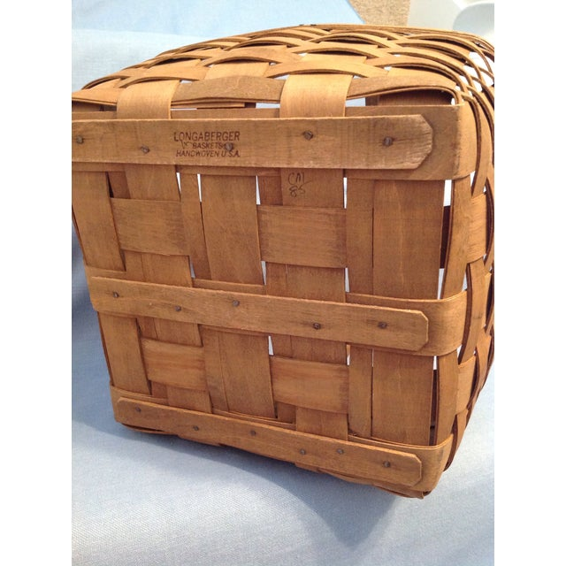 Wood 1970s Vintage Longaberger Handwoven Square Basket For Sale - Image 7 of 12