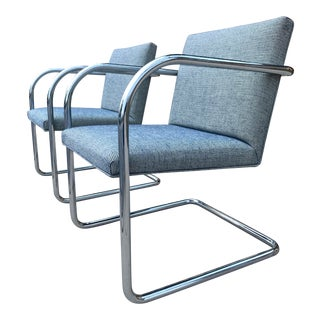 Pair of Thonet Tubular Chrome Brno Armchairs by Ludwig Mies Van Der Rohe For Sale