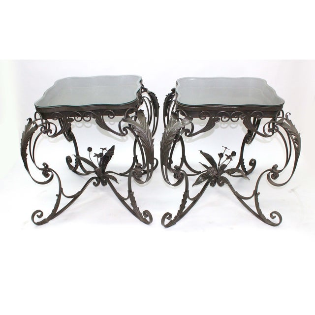 Gothic Iron Bent Floral Side Tables - A Pair For Sale - Image 3 of 7