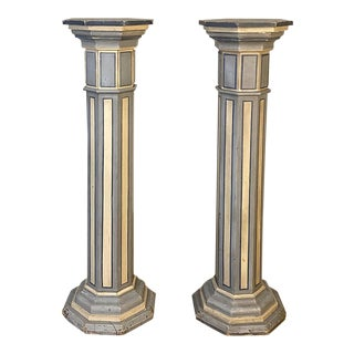 Antique Neo-Gothic Painted Pedestals - a Pair For Sale