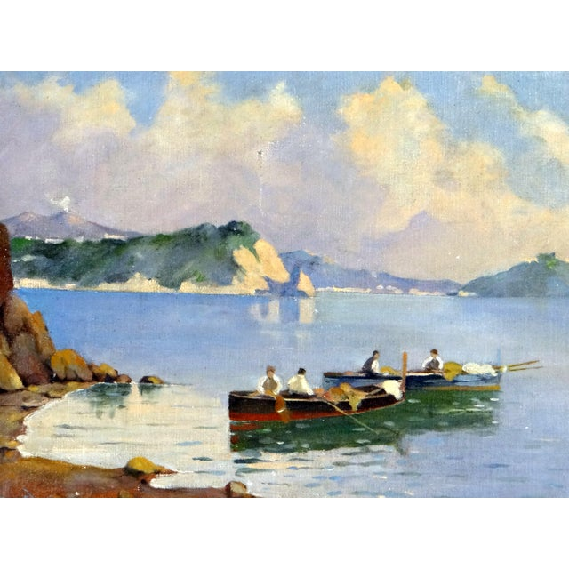 Impressionism Italian Coastal Painting With Mount Vesuvius by Henry Ravell (1864 – 1930 California) For Sale - Image 3 of 12