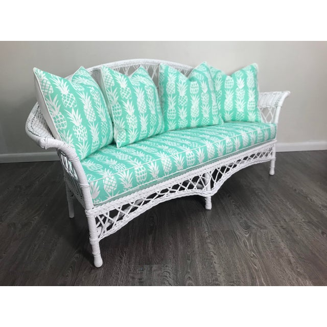 Late 20th Century Vintage Wicker Loveseat in White Lacquer With Cushion Pillows in Aqua Pineapple For Sale - Image 5 of 7