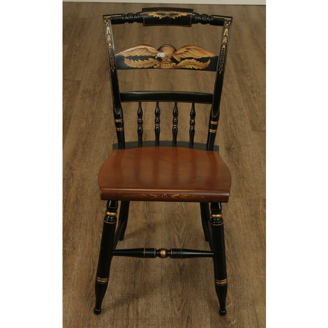 Traditional Hitchcock Eagle Painted Black & Maple Side Chair For Sale - Image 3 of 13