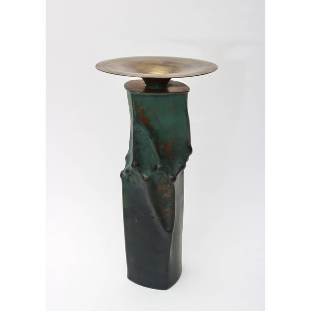 Mid 20th Century Brutalist Oxodized Copper and Brass Candleholders - Set of 3 For Sale - Image 5 of 11