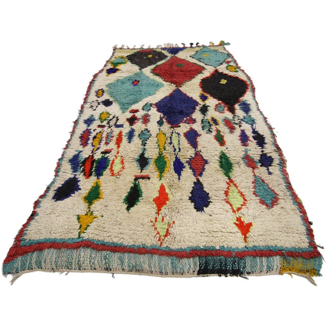 Abstract Tribal Style Vintage Moroccan Azilal Rug, Colorful Moroccan Berber Rug, 3'4 X 5'10 For Sale - Image 3 of 6