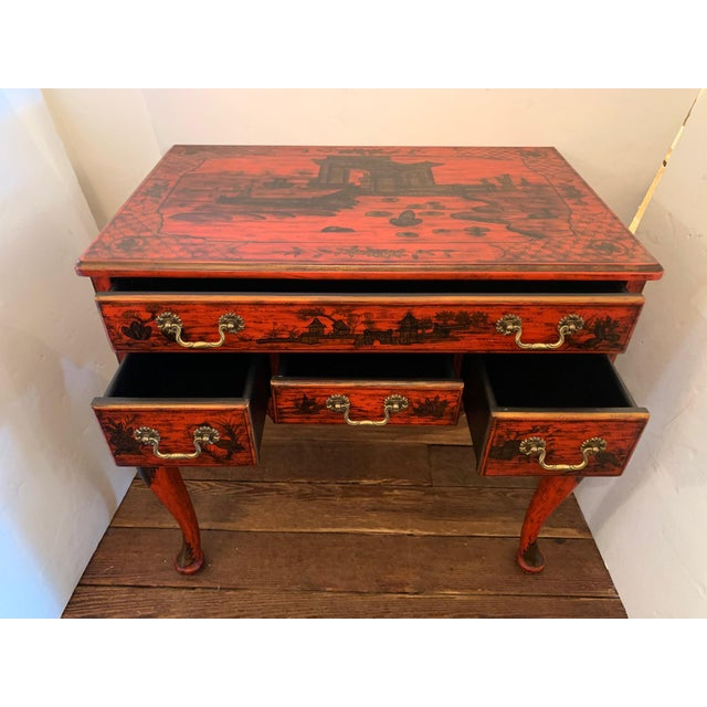 Chinoiserie Chelsea House Tomato Red Chinoiserie Chest of Drawers For Sale - Image 3 of 13
