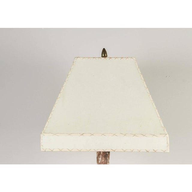 Tall marble Italian table lamp circa 1920s with new custom hand-stitched parchment shade. Rewired. New custom hand-...