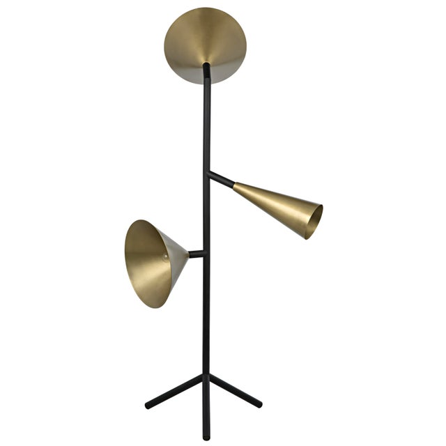 Metal Strato Floor Lamp, Black Metal and Brass Finish For Sale - Image 7 of 7