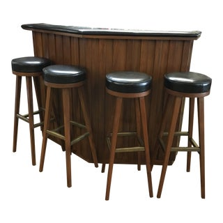 Vintage Mid-Century Modern Teak Bar with 4 Swivel Stools For Sale
