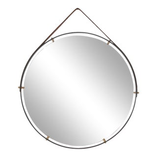 Modernist Industrial Wall Mirror Pablex With Leather Straps For Sale