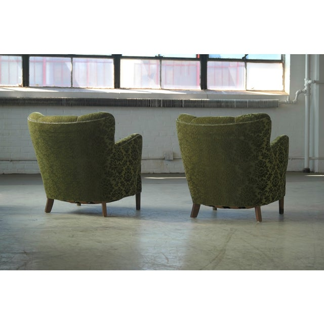 Textile Pair of Danish 1940s Fritz Hansen Model 1669 Style Lounge Chairs For Sale - Image 7 of 11