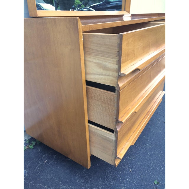 Crawford Mid-Century Maple Lowboy Dresser & Mirror For Sale - Image 12 of 12