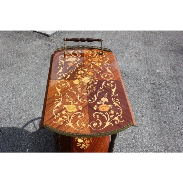 Metal 1950s French Marquetry Drop Leaf Bar Cart For Sale - Image 7 of 13