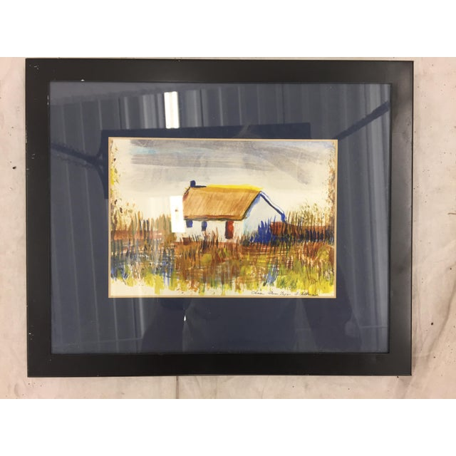 "Rustic Framed ""Casa Alem Tejo"" Watercolor Painting For Sale - Image 3 of 7"