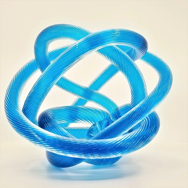 Large Zanetti Style Murano Glass Caribbean Blue Twisted and Knotted Rope Sculpture - Unsigned For Sale - Image 13 of 13
