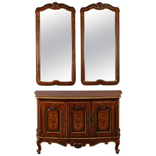 Continental Style Hand-Painted and Gilt Sideboard Set by Drexel Heritage For Sale