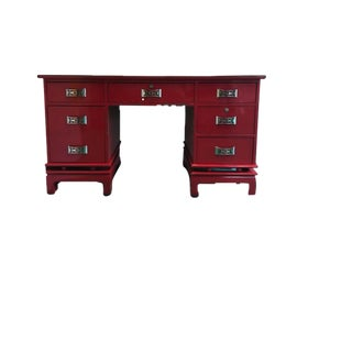 1970s Mid-Century Red Lacquered Asian Influence Partner Desk For Sale