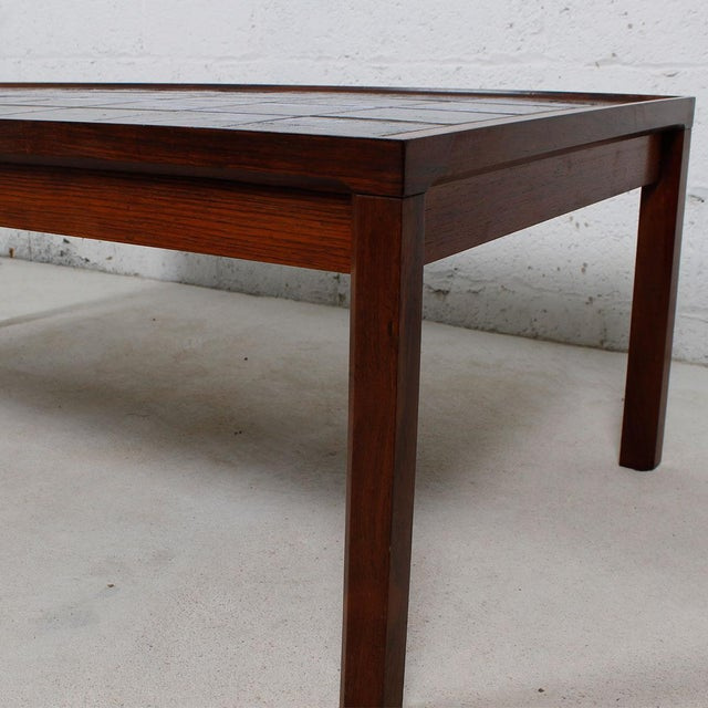 Large Danish Modern Coffee Table in Rosewood with White & Blue Tile Top For Sale - Image 4 of 6