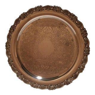 Vintage Oneida Traditional Style Silver Plate Round Tray For Sale