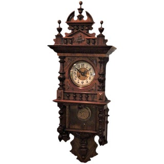 Gustav Becker Style Victorian Wall Clock With Key and Pendulum Signed Adler For Sale