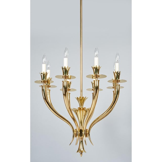 Gio Ponti Gio Ponti Important Geometric 8-Arm Chandelier in Polished Brass, Italy 1930s For Sale - Image 4 of 11