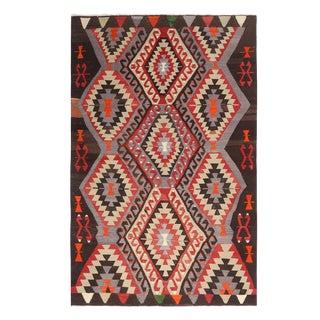 "1930's Vintage Geometric Black and Red Wool Kilim Rug-5'7'x8'8"" For Sale"