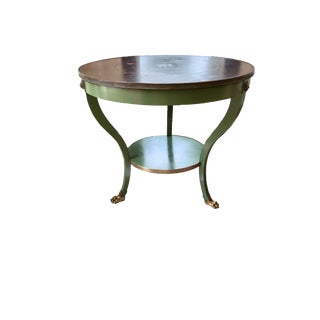 20th Century Traditional Round Painted Mahogany Table With Shelf and Brass Details For Sale