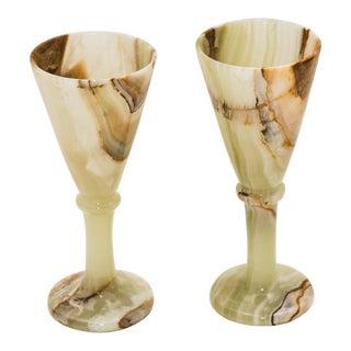 Vintage Onyx Goblets - A Pair