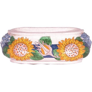 Italian Hand Painted Oval Ceramic Centerpiece For Sale