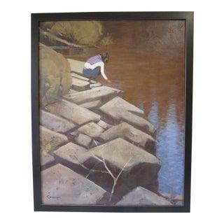 1970s Vintage Modernist Framed Painting For Sale