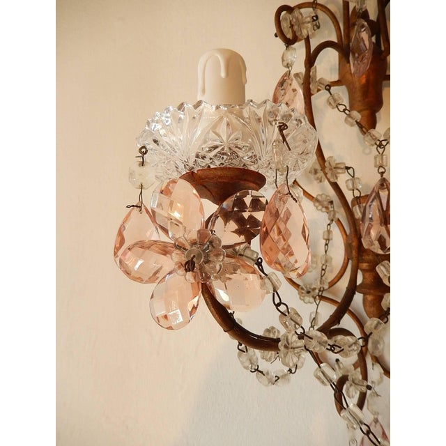 Gold French Maison Baguès Style Pink Floral Crystal Sconces, circa 1920 For Sale - Image 8 of 11