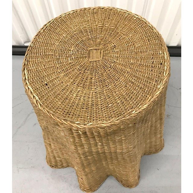 """Metal Vintage Wicker Trompe l'Oeil """"Draped"""" Table For Sale - Image 7 of 12"""