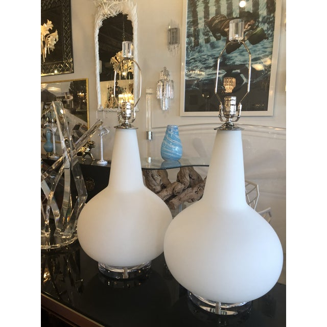 Vintage Murano Frosted Glass Chrome Lucite Table Lamps - A Pair For Sale In West Palm - Image 6 of 11