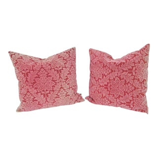 Fashion Cut Velvet Red Downfilled Pillows - A Pair For Sale