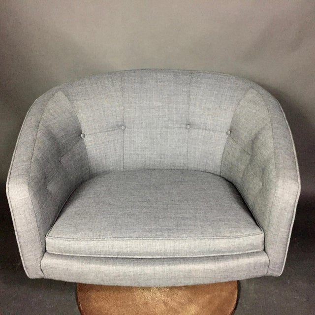 Fabric Pair 1960s Jens Risom Barrel-Back Swivel Chairs For Sale - Image 7 of 13