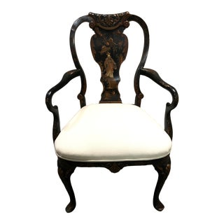 Antique Painted Chinoiserie Arm Chair For Sale