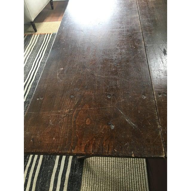 Brown Vintage Trestle Table For Sale - Image 8 of 11