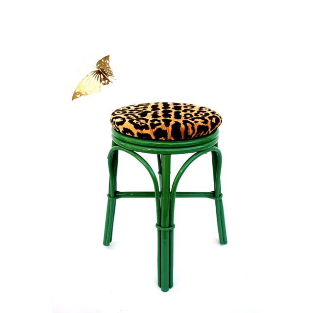 Asian Vintage Emerald Green & Leopard Velvet Rattan Bamboo Accent Stool For Sale - Image 3 of 12