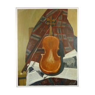 "Robert Cerouge ""Violin at Rest"" Painting For Sale"