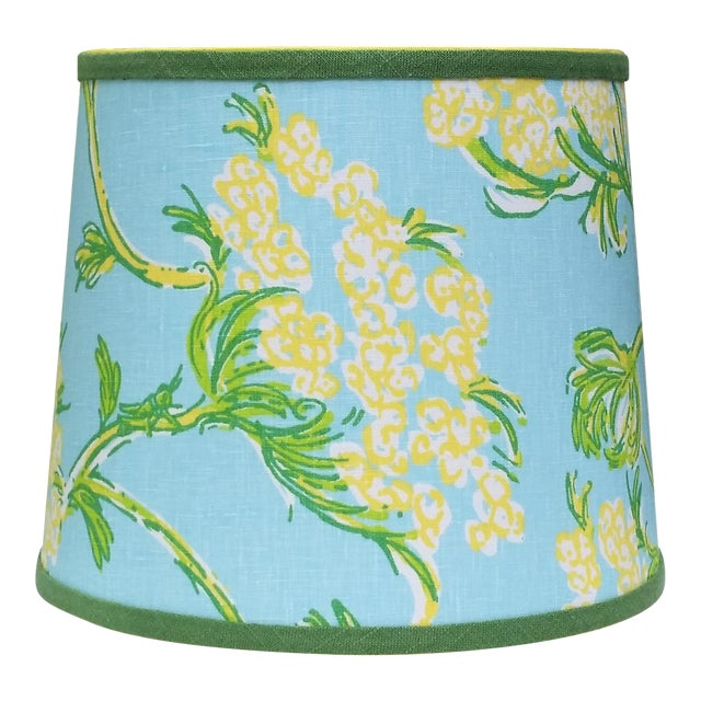 Lilly Pulitzer Fabric Blue Floral Blue Green Yellow Tropical Lampshade For Sale