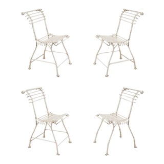 Outdoor Painted Iron Side Chairs - Set of 4 For Sale