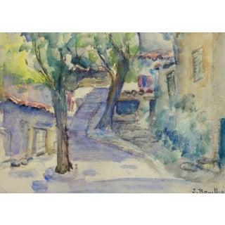 Jacques Bouillac, Vintage French Watercolor Landscape - Village Path For Sale